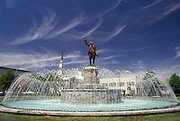 AJ3976, fountain, Georgia, Lafayette statue and fountain in a park in LaGrange in the state of Georgia.
