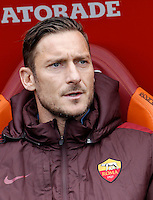 Calcio, Serie A: Roma vs Napoli. Roma, stadio Olimpico, 25 aprile 2016.<br /> Roma&rsquo;s Francesco Totti sits on the bench during the Italian Serie A football match between Roma and Napoli at Rome's Olympic stadium, 25 April 2016. <br /> UPDATE IMAGES PRESS/Isabella Bonotto