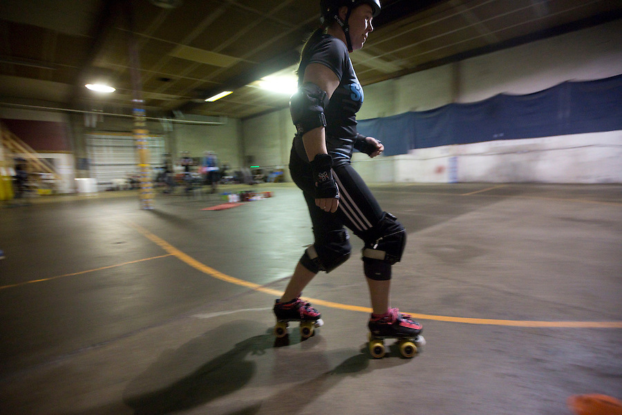 Dirty Ann of the Storm City Roller Girls practices in Vancouver Thursday February 9, 2017. (Photo by Natalie Behring for the Columbian)