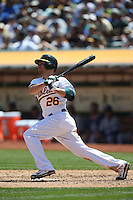 OAKLAND, CA - AUGUST 19:  Danny Valencia #26 of the Oakland Athletics bats against the Los Angeles Dodgers during the game at O.co Coliseum on Wednesday, August 19, 2015 in Oakland, California. Photo by Brad Mangin