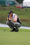Michael Hoey lines up his putt on the first on the final day of the 3 Irish Open, at the Killarney Golf and Fishing Club, Killarney, Ireland.Picture Fran Caffrey/www.golffile.ie.