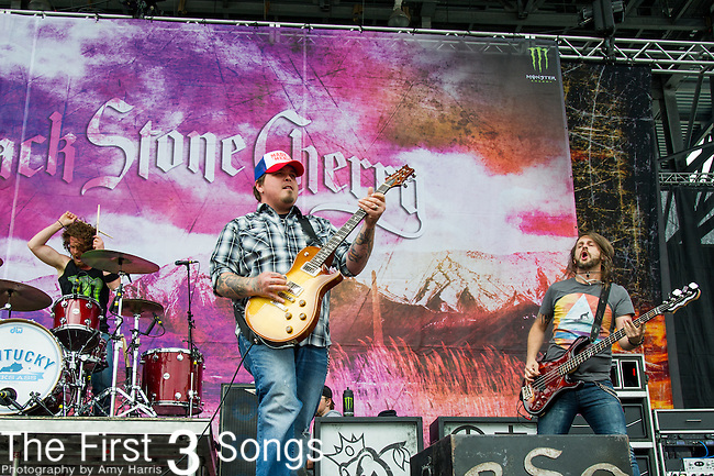 Chris Robertson, John Fred Young, and Jon Lawhon of Black Stone Cherry perform during the 2014 Rock On The Range festival at Columbus Crew Stadium in Columbus, Ohio.