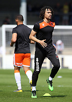 Blackpool's Nya Kirby during the pre-match warm-up <br /> <br /> Photographer David Shipman/CameraSport<br /> <br /> The EFL Sky Bet League One - Scunthorpe United v Blackpool - Friday 19th April 2019 - Glanford Park - Scunthorpe<br /> <br /> World Copyright © 2019 CameraSport. All rights reserved. 43 Linden Ave. Countesthorpe. Leicester. England. LE8 5PG - Tel: +44 (0) 116 277 4147 - admin@camerasport.com - www.camerasport.com