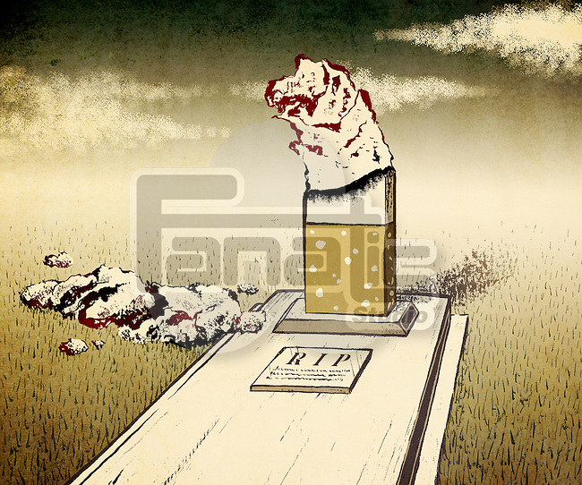 Conceptual illustration of tombstone in burned cigarette shape depicting concept of smoking kills