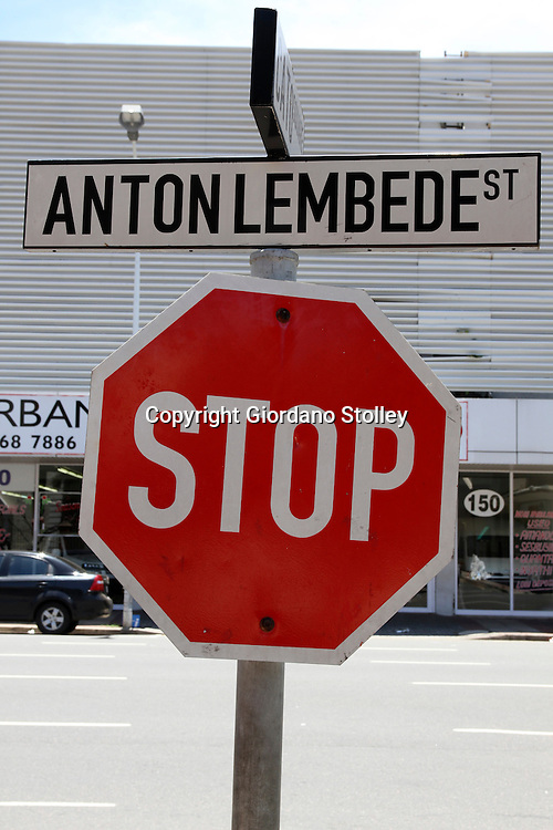 DURBAN - 3 Januar 2013 - A stop sign at Anton Lembede Street in central Durban. Previously known as Smith Street, the street was renamed to honour the founding president of the African National Congress Youth League. The street along with Pixley Ka Seme Street (formerly West Street) are the two main streets of the city's central business district. Picture: Allied Picture Press/APP
