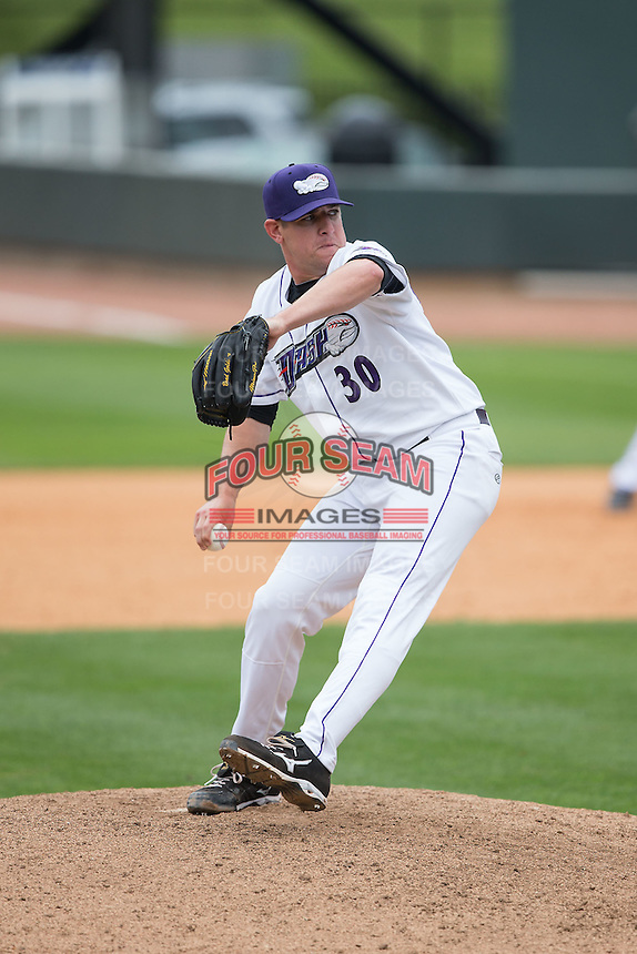 Winston-Salem Dash relief pitcher Brad Goldberg (30) in action against the Myrtle Beach Pelicans at BB&T Ballpark on May 10, 2015 in Winston-Salem, North Carolina.  The Pelicans defeated the Dash 4-3.  (Brian Westerholt/Four Seam Images)