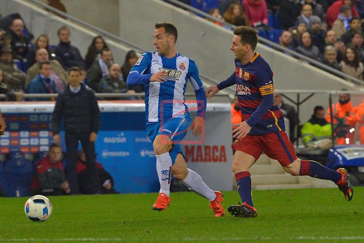 Copa del Rey 2015-16. 1/8 final - Vuelta.<br /> RCD Espanyol vs FC Barcelona: 0-2.<br /> Monta&ntilde;es vs Lionel Messi.