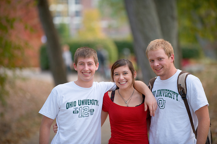 19100Campus Fall... Pat Light(taller),Mike Sedlock(backpack) and Emily Williams