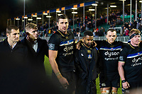 Luke Charteris of Bath Rugby speaks to his team-mates in a post-match huddle. Heineken Champions Cup match, between Bath Rugby and Wasps on January 12, 2019 at the Recreation Ground in Bath, England. Photo by: Patrick Khachfe / Onside Images