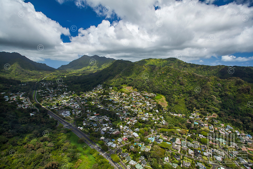 An aerial view of Nu'uanu Valley and neighborhood, Honolulu, O'ahu.