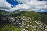 An aerial view of Nu'uanu Valley and neighborhood, Honolulu, O'ahu.