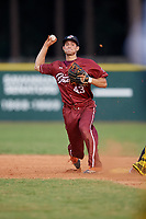 Macon Bacon second baseman Trevor Austin (43) throws to first base during a Coastal Plain League game against the Savannah Bananas on July 15, 2020 at Grayson Stadium in Savannah, Georgia.  (Mike Janes/Four Seam Images)