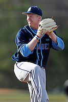 Pitcher Kevin Connell (16) of the Citadel delivers in a game against the University of South Carolina Upstate Spartans on Tuesday, February, 18, 2014, at Cleveland S. Harley Park in Spartanburg, South Carolina. Upstate won, 6-2. (Tom Priddy/Four Seam Images)