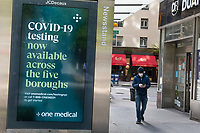 New York, New York City, during the time of the Coronavirus. COVID signs in teh city.