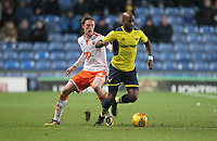 Blackpool's Sean Longstaff in action with Oxford United's Wes Thomas<br /> <br /> Photographer Mick Walker/CameraSport<br /> <br /> The EFL Sky Bet League One - Rochdale v Blackpool - Monday 1st January 2018 - Spotland Stadium - Rochdale<br /> <br /> World Copyright &copy; 2018 CameraSport. All rights reserved. 43 Linden Ave. Countesthorpe. Leicester. England. LE8 5PG - Tel: +44 (0) 116 277 4147 - admin@camerasport.com - www.camerasport.com