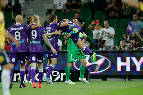 20.12.2014, Perth, Australia. Hyundai A-League, Perth Glory v Central Coast Mariners, Daniel Vukovic celebrates with Chris Harold after another goal.