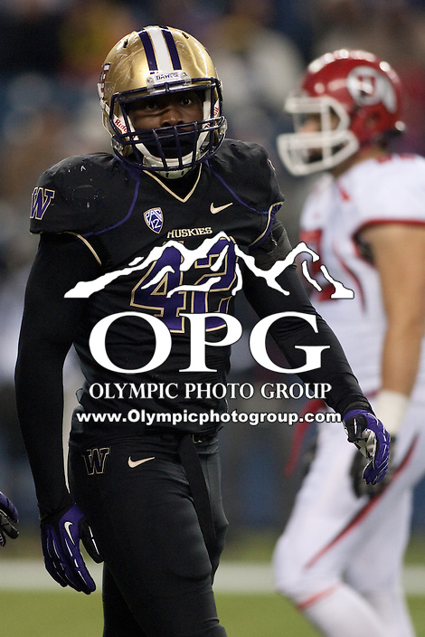 NOV 10, 2012:  Washington's Cory Littleton against Utah.  Washington defeated Utah  34-15 at CenturyLink Field in Seattle, WA...