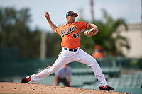 Baltimore Orioles pitcher Gray Fenter (69) delivers a pitch during a Florida Instructional League game against the Pittsburgh Pirates on September 22, 2018 at Ed Smith Stadium in Sarasota, Florida.  (Mike Janes/Four Seam Images)