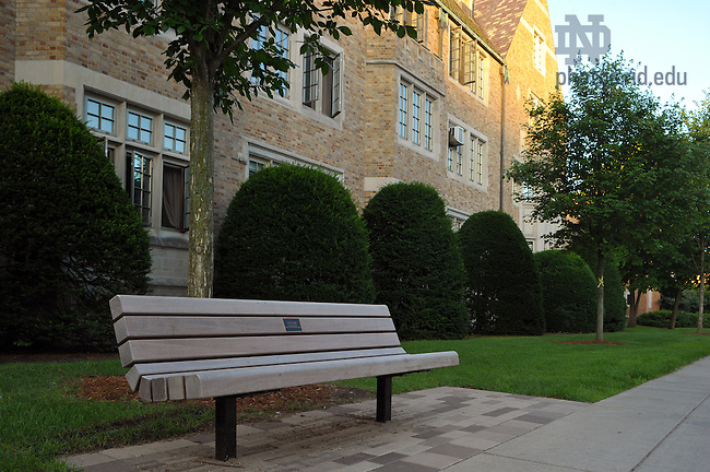 Bench dedicated to the Kuras Family..Photo by Matt Cashore/University of Notre Dame