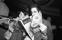 April 10 2003, Montreal, Quebec, Canada<br /> <br /> An unidentified couple read the first copy of STRUT, a new fashion/lifestyle magazine, during the launch party held at The Rialto,  april 10, 2003<br />  in Montreal, Canada.<br /> <br /> NO MODEL RELEASE - Editorial related to this event only<br /> <br /> Mandatory Credit: Photo by Pierre Roussel- Images Distribution. (©) Copyright 2003 by Pierre Roussel <br /> <br /> NOTE : <br />  Nikon D-1 jpeg opened with Qimage icc profile, saved in Adobe 1998 RGB<br /> .Uncompressed  Original  size  file availble on request.