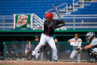 Batavia Muckdogs left fielder Michael Donadio (7) at bat in front of catcher Paul Brands (19) during a game against the West Virginia Black Bears on July 1, 2018 at Dwyer Stadium in Batavia, New York.  Batavia defeated West Virginia 8-4.  (Mike Janes/Four Seam Images)
