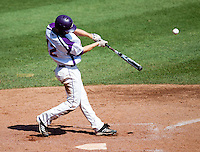 Tim Bodine (12) of the Evansville Purple Aces makes contact on a pitch during a game against the Indiana State Sycamores in the 2012 Missouri Valley Conference Championship Tournament at Hammons Field on May 23, 2012 in Springfield, Missouri. (David Welker/Four Seam Images)
