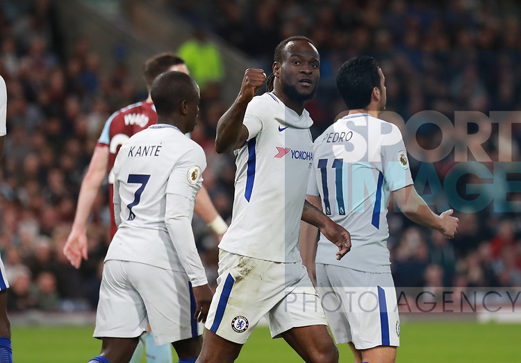 Victor Moses of Chelsea celebrates scoring the second goal during the premier league match at the Turf Moor Stadium, Burnley. Picture date 19th April 2018. Picture credit should read: Simon Bellis/Sportimage