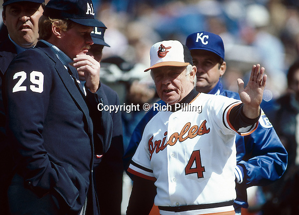 BALTIMORE - 1982:   Manager Earl Weaver #4 of the Baltimore Orioles talking to the umpires during a 1982 season game in Baltimore, Maryland.  Earl Weaver was a manager from 1968-1982 and 1985-1986.  (Photo by Rich Pilling)