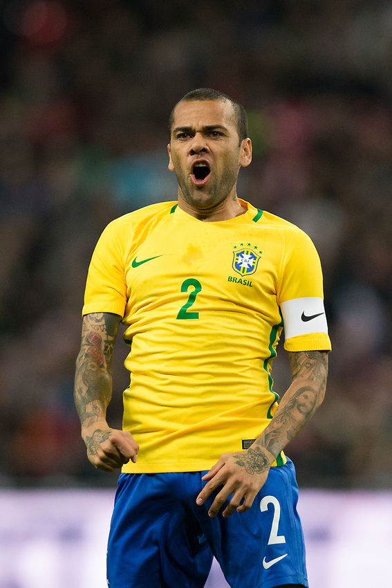 Brazil&rsquo;s Dani Alves reacts <br /> <br /> Photographer Craig Mercer/CameraSport<br /> <br /> The Bobby Moore Fund International - England v Brazil - Tuesday 14th November 2017 Wembley Stadium - London  <br /> <br /> World Copyright &copy; 2017 CameraSport. All rights reserved. 43 Linden Ave. Countesthorpe. Leicester. England. LE8 5PG - Tel: +44 (0) 116 277 4147 - admin@camerasport.com - www.camerasport.com