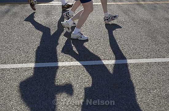 runner shadows, 2nd Annual Salt Lake City Marathon.<br />