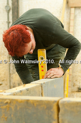 Student on a bricklaying course.  Able Skills in Dartford, Kent, runs courses in construction industry skills like, bricklaying, carpentry and tiling.
