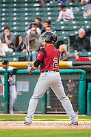 Juan Perez (2) of the Sacramento River Cats at bat against the Salt Lake Bees in Pacific Coast League action at Smith's Ballpark on April 17, 2015 in Salt Lake City, Utah.  (Stephen Smith/Four Seam Images)