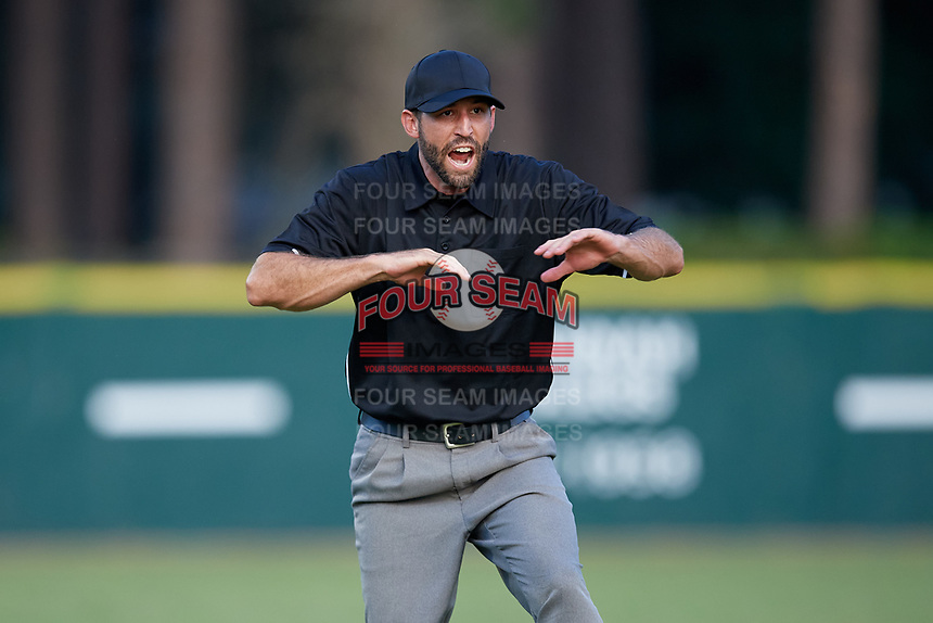 Umpire Jesse Osborne signals safe during a Collegiate Summer League game between the Macon Bacon and Savannah Bananas on July 15, 2020 at Grayson Stadium in Savannah, Georgia.  (Mike Janes/Four Seam Images)