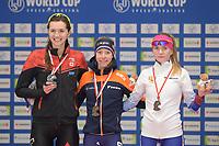 SPEEDSKATING: 09-12-2018, Tomaszów Mazowiecki (POL), ISU World Cup Arena Lodowa, Podium 5.000m Ladies Division A, Isabelle Weidemann (CAN), Esmee Visser (NED), Natalia Voronina (RUS), ©photo Martin de Jong