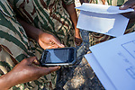 Anti-poaching scouts performing SMART training exercise, Sioma, western Zambia