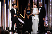 Actor Rami Malek accepts the Golden Globe Award for BEST PERFORMANCE BY AN ACTOR IN A MOTION PICTURE &ndash; DRAMA for his role in &quot;Bohemian Rhapsody&quot; at the 76th Annual Golden Globe Awards at the Beverly Hilton in Beverly Hills, CA on Sunday, January 6, 2019.<br /> *Editorial Use Only*<br /> CAP/PLF/HFPA<br /> Image supplied by Capital Pictures