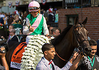 ELMONT, NY - JUNE 10: Javier Castellano, aboard Antonoe #7, gives a thumbs up after winning the Longines Just a Game Stakes on Belmont Stakes Day at Belmont Park on June 10, 2017 in Elmont, New York (Photo by Sue Kawczynski/Eclipse Sportswire/Getty Images)