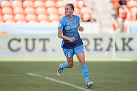 Houston, TX - Saturday May 13, Sky Blue FC midfielder Sarah Killion (16) smiles after scoring a goal on a penalty kick during a regular season National Women's Soccer League (NWSL) match between the Houston Dash and Sky Blue FC at BBVA Compass Stadium. Sky Blue won the game 3-1.