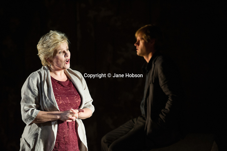 Edinburgh, UK. 30.08.2012. Scottish Opera and Music Theatre Wales present IN THE LOCKED ROOM as part of the Edinburgh International Festival. Words by David Harsent and music by Huw Watkins. Picture shows: Louise Winter (as Susan) and Hakan Vramsmo (as Pascoe). Photo credit: Jane Hobson.