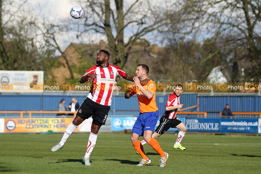 Michael Rankine of Altrincham and Matt Paine of Braintree Town go for the aerial ball during Braintree Town vs Altrincham, Vanarama National League Football at the Avanti Stadium on 30th April 2016