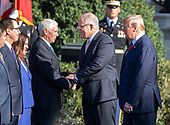 United States Vice President Mike Pence shakes hands with Prime Minister Scott Morrison of Australia as United States President Donald J. Trump looks on during the arrival ceremony in honor of the Prime Minister and his wife, Jenny Morrison on the South Lawn of the White House in Washington, DC on Friday, September 20, 2019.<br /> Credit: Ron Sachs / CNP