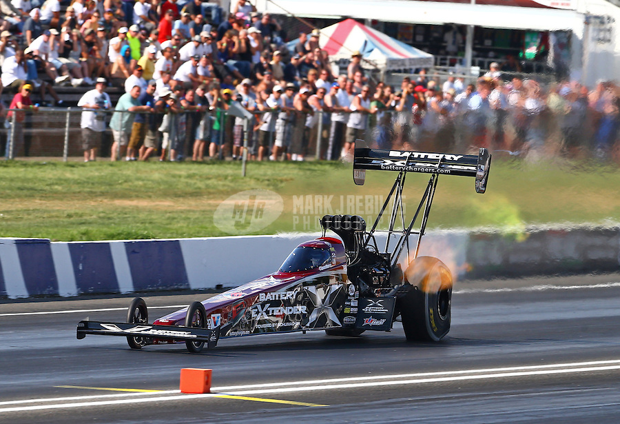 Jun. 1, 2013; Englishtown, NJ, USA: NHRA top fuel dragster driver Spencer Massey during qualifying for the Summer Nationals at Raceway Park. Mandatory Credit: Mark J. Rebilas-