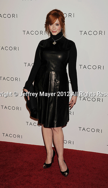 "WEST HOLLYWOOD, CA - OCTOBER 09: Christina Hendricks arrives at the Tacori Productions New ""City Lights"" Fall/Winter 2012 Collection Launch Party at The Lot Studio on October 9, 2012 in West Hollywood, California."