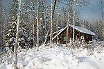 Idaho, North, Boundary County, Bonners Ferry. A snow scene with  cabin in the Purcell Mountains.