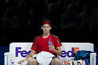 Dominic Thiem of Austria (4) in action during his defeat by Grigor Dimitrov of Bulgaria (6) in their Pete Sampras group match today - Dimitrov def Thiem 6-3, 5-7, 7-5<br /> <br /> Photographer Craig Mercer/CameraSport<br /> <br /> International Tennis - Nitto ATP World Tour Finals - O2 Arena - London - Day 2  - Monday 13th November 2017<br /> <br /> World Copyright &copy; 2017 CameraSport. All rights reserved. 43 Linden Ave. Countesthorpe. Leicester. England. LE8 5PG - Tel: +44 (0) 116 277 4147 - admin@camerasport.com - www.camerasport.com