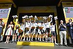 Team Sky lead the team classification at sign on before Stage 14 of the 104th edition of the Tour de France 2017, running 181.5km from Blagnac to Rodez, France. 15th July 2017.<br /> Picture: ASO/Bruno Bade | Cyclefile<br /> <br /> <br /> All photos usage must carry mandatory copyright credit (&copy; Cyclefile | ASO/Bruno Bade)