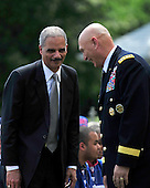 United States Attorney General Eric Holder and Chief of Staff of the U.S. Army Ray Odierno share smiles prior to the ceremony where U.S. President Barack Obama welcomes the Super Bowl Champion New York Giants to the White House in Washington, D.C. on Friday, June 8, 2012..Credit: Ron Sachs / CNP.(RESTRICTION: NO New York or New Jersey Newspapers or newspapers within a 75 mile radius of New York City)