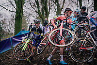 former CX World Champ turned fulltime roadie BOOM Lars (Ned/Roompot-Charles) dropping back into the dirt for this occasion<br /> <br /> Brussels Universities Cyclocross (BEL) 2019<br /> Elite Men's Race<br /> DVV Trofee<br /> &copy;kramon