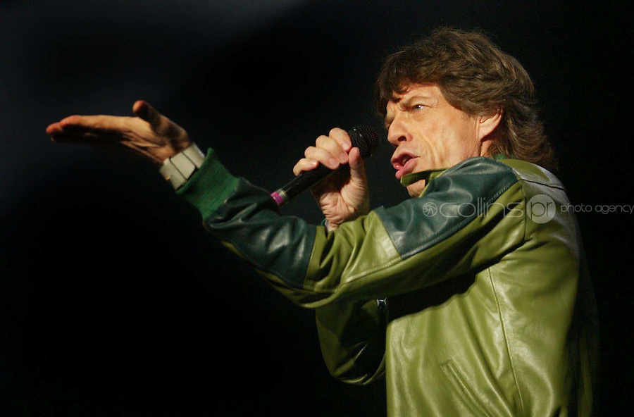 Rolling Stones Concert.11/9/2003.Mick Jagger in performance during the Rolling Stones conceert at The Point Theatre, Dublin..Photo: Gareth Chaney Collins