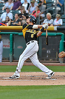 Angel Rosa (6) of the Salt Lake Bees follows through on his swing against the Albuquerque Isotopes during the Pacific Coast League game at Smith's Ballpark on August 30, 2016 in Salt Lake City, Utah. The Bees defeated the Isotopes 3-2. (Stephen Smith/Four Seam Images)